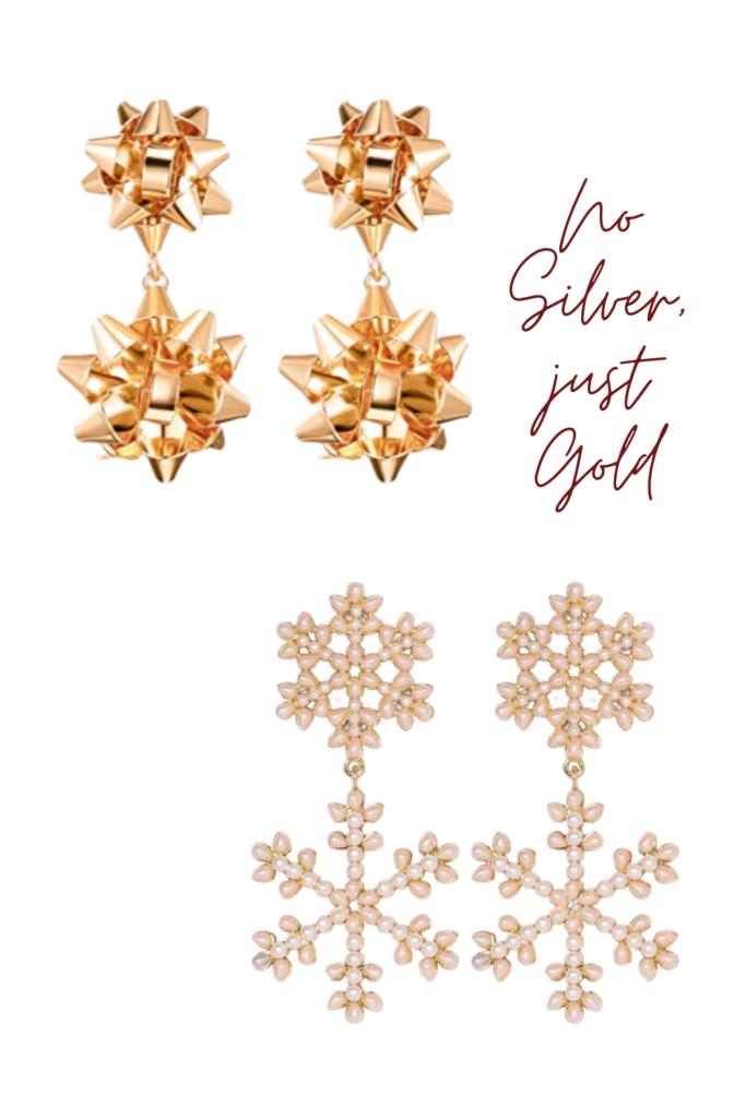 gold christmas bow earrings