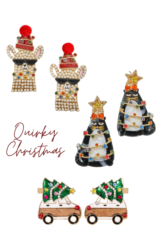 quirky christmas earrings