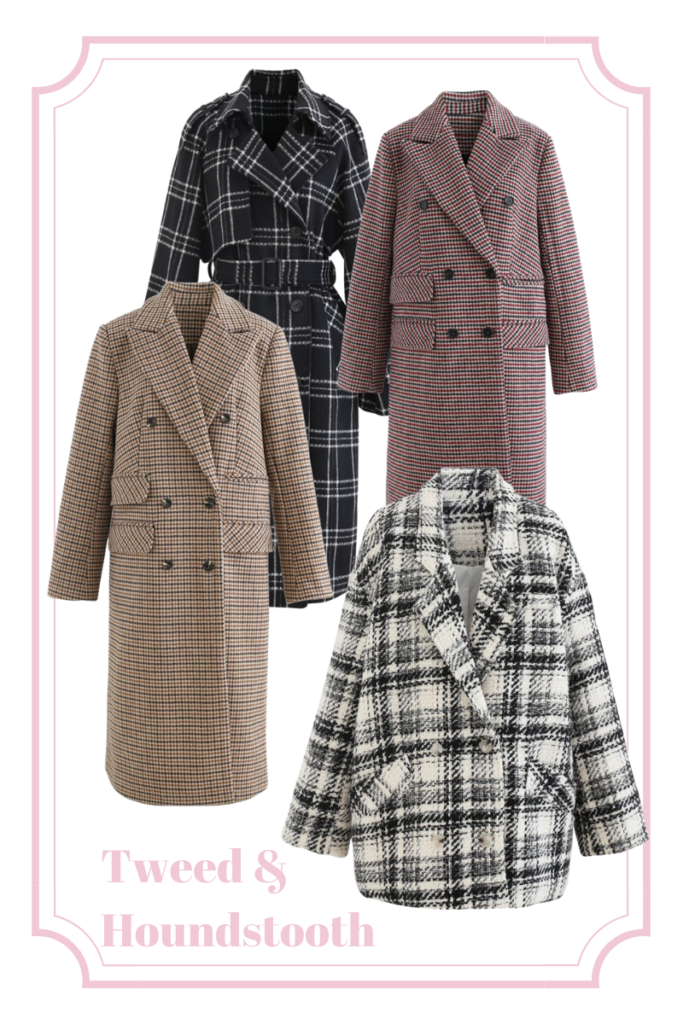tweed and plaid statement coats