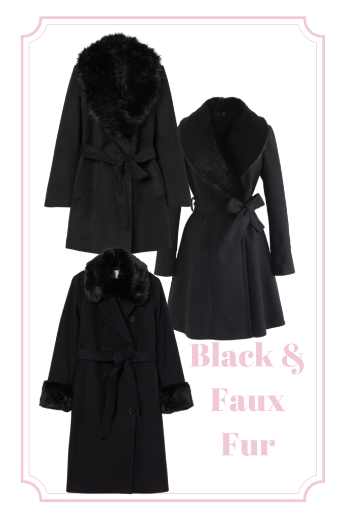 black and faux fur statement coats