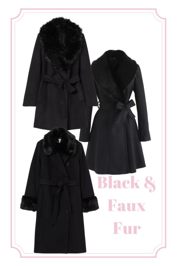 black and faux fur statement coats