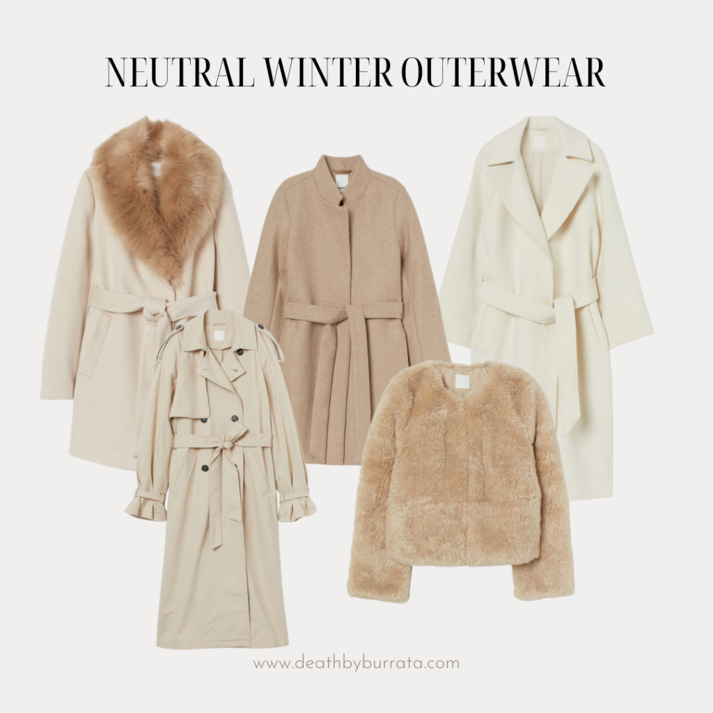 budget-friendly neutral winter coats, neutral style, white coats, beige coat, sherpa coat, trench coat, classic style, preppy style, faux fur, wrap coat