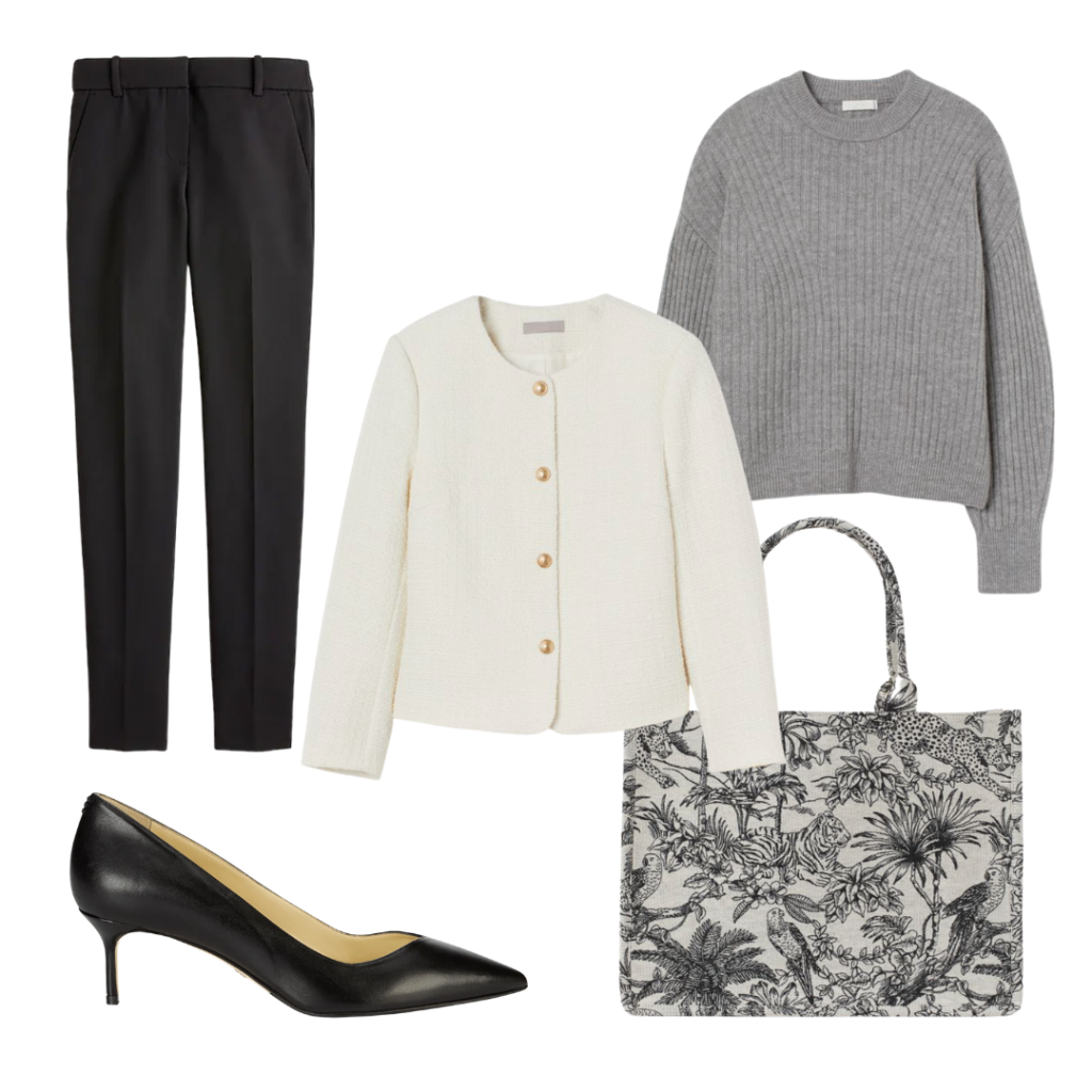 black and white job interview outfit
