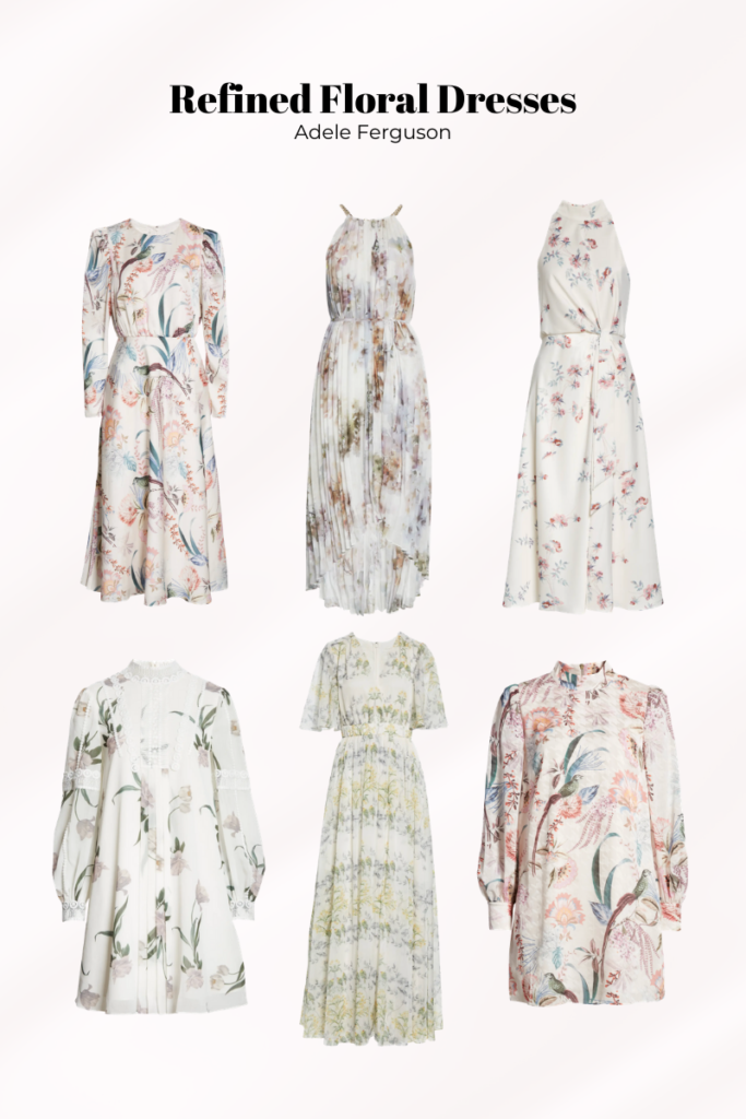 luxurious refined summer floral dresses, ted baker dresses, elegant florals, formal florals, luxury fashion florals