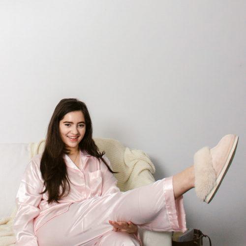 silky pink pajamas