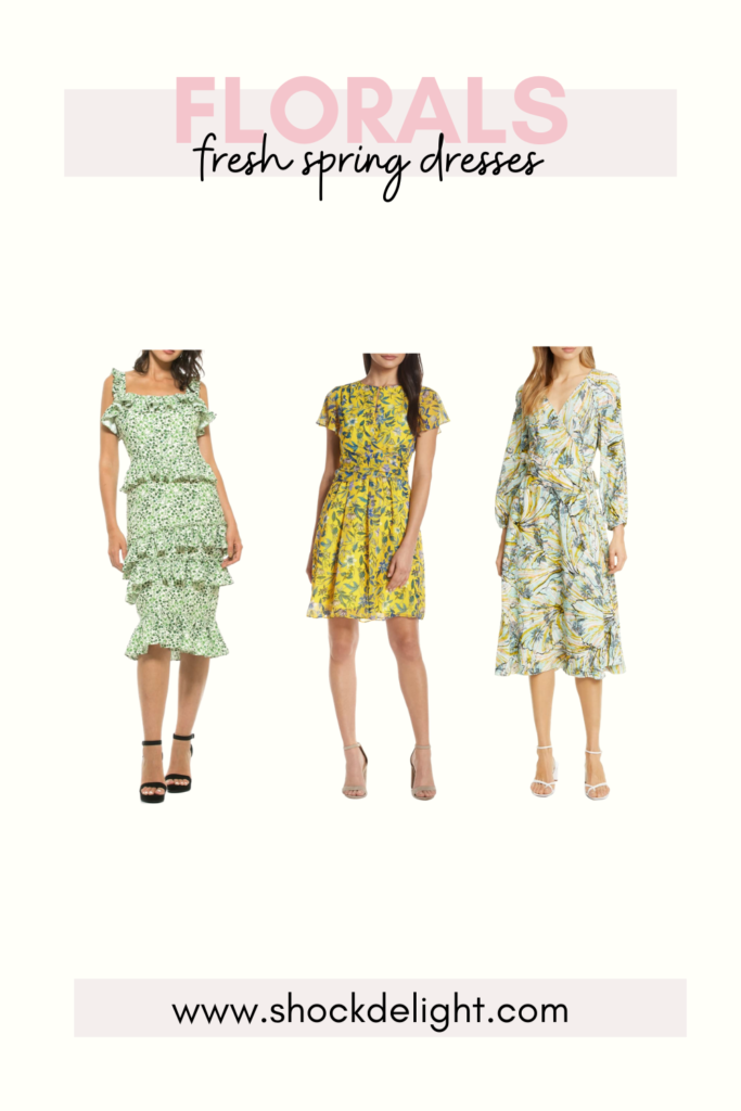 sophisticated green and yellow dresses for spring and summer. These dresses are perfect for Easter or summer wedding guest dresses!