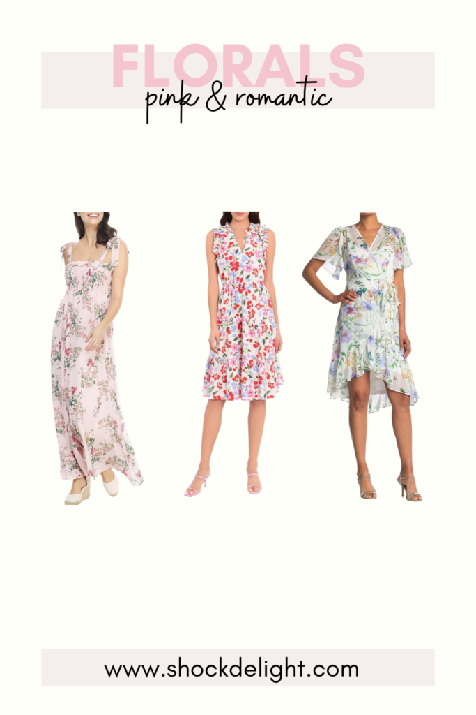 sophisticated pink floral dresses These dresses are perfect for Easter or summer wedding guest dresses!