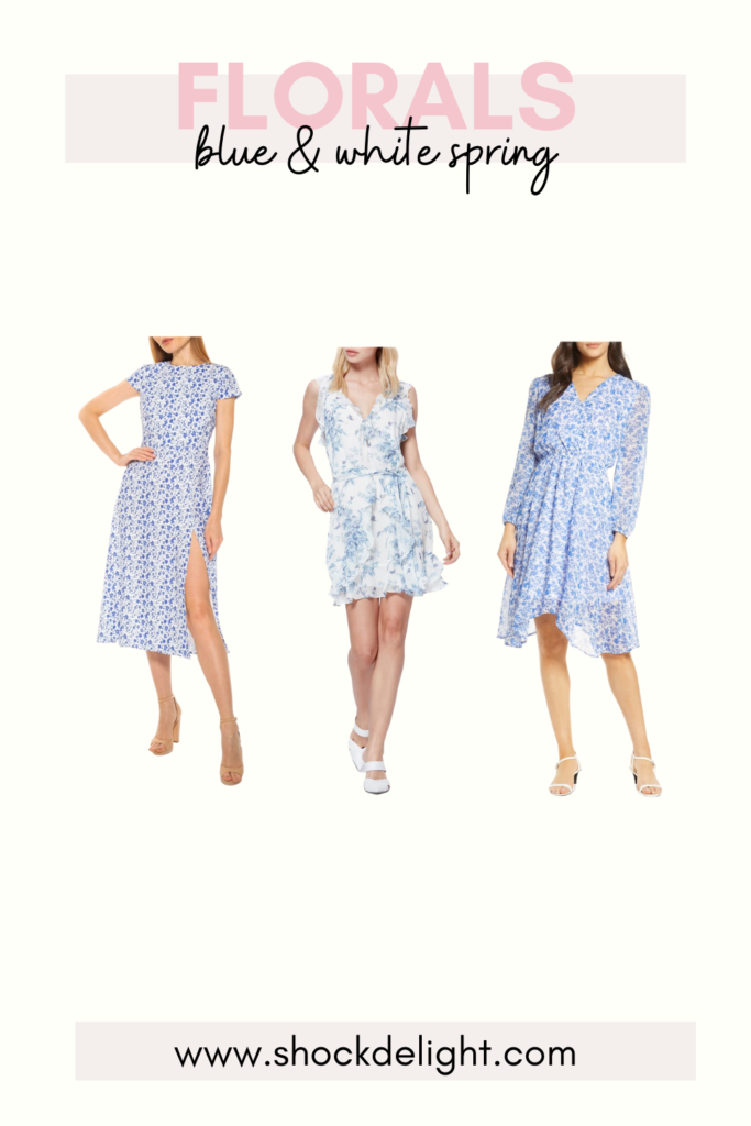 sophisticated blue and white floral dresses These dresses are perfect for Easter or summer wedding guest dresses!