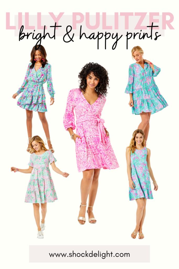 illy pulitzer, lily pulitzer, lilly pulitzer dress, pink toile dress, pink wrap dress, wrap print dress, colorful swing dress, swing tshirt dress, colorful shift dress