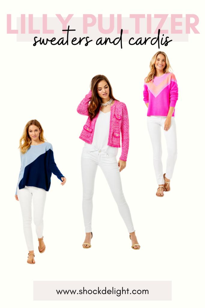 illy pulitzer, lily pulitzer, pink blazer, pink cardigan, pink tweed cardigan, pink tweed blazer, pink cardigan blazer, pink sweater blazer, pink coloblock sweater, hot pink sweater, colorblock sweater, blue colorblock sweater, navy sweater