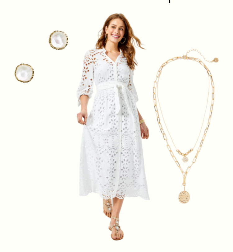 white eyelet maxi dress, illy pulitzer, lily pulitzer, white bridal shower dress, engagement party dress, rehearsal dinner dress, graduation dress, baby shower dress, gold coin necklace, white eyelet, spring lace dress, pearl stud earrings,