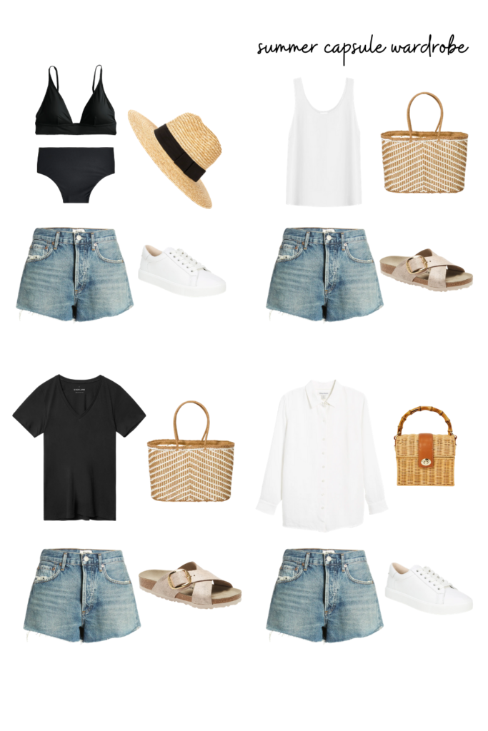 summer outfit inspiration with jean shorts. Denim short outfit ideas.