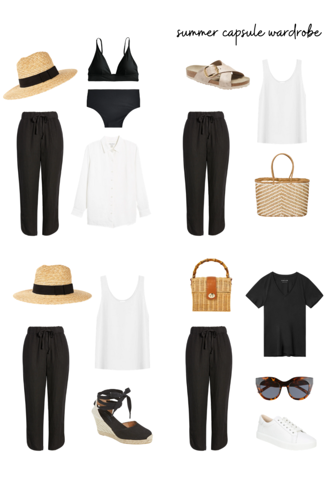 summer capsule wardrobe outfits with linen pants, black linen pants outfit inspiration