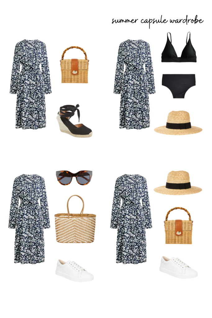 summer capsule wardrobe - dress a swimsuit cover up up or down